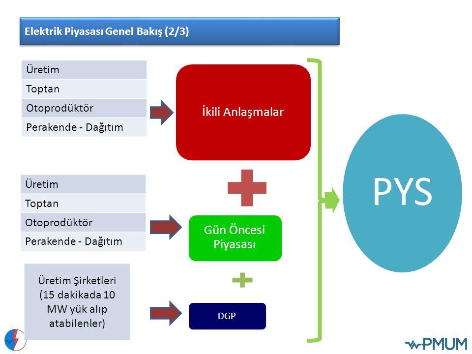 İkili Anlaşmalar Gün Öncesi Piyasası DGP PYS Üretim Toptan Otoprodüktör Perakende - Dağıtım Üretim Şirketleri (15 dakikada 10 MW yük alıp atabilenler)