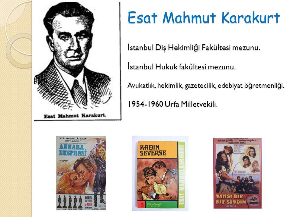 Esat Mahmut Karakurt İ stanbul Diş Hekimli ğ i Fakültesi mezunu. İ stanbul Hukuk fakültesi mezunu. Avukatlık, hekimlik, gazetecilik, edebiyat ö ğ retm