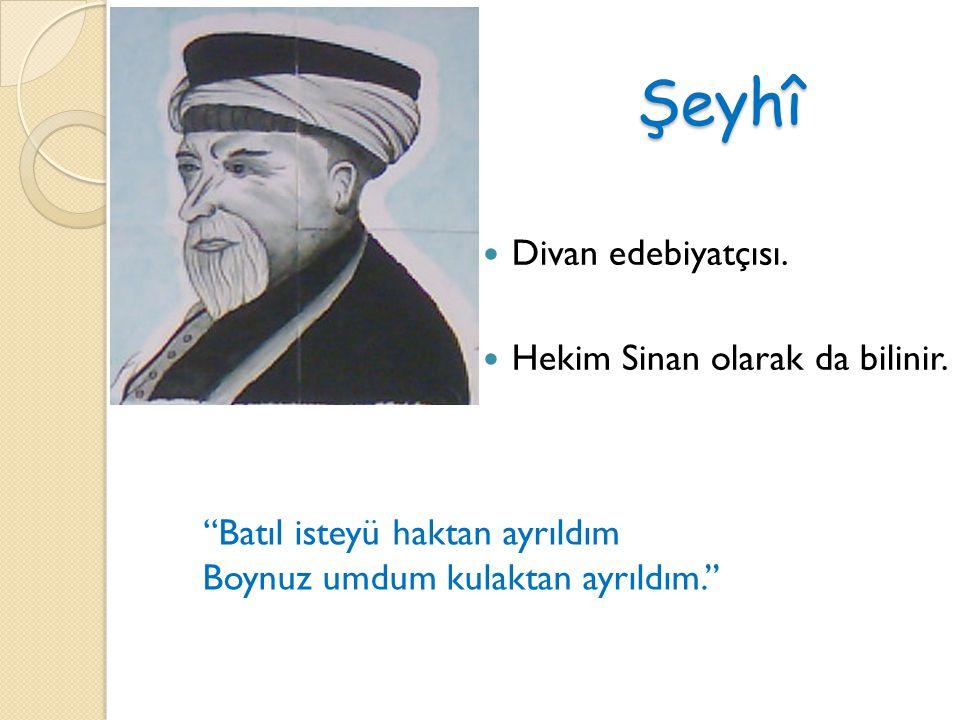 Şeyhî Divan edebiyatçısı. Hekim Sinan olarak da bilinir. ''Batıl isteyü haktan ayrıldım Boynuz umdum kulaktan ayrıldım.''