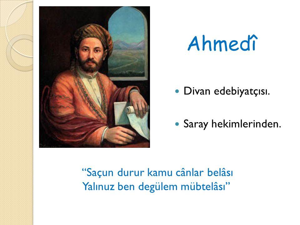 Ahmedî Divan edebiyatçısı. Saray hekimlerinden.