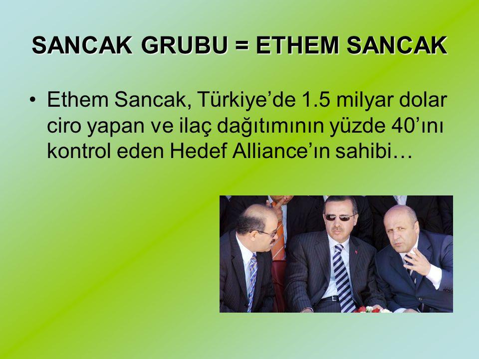 SANCAK GRUBU = ETHEM SANCAK Ethem Sancak, Türkiye'de 1.5 milyar dolar ciro yapan ve ilaç dağıtımının yüzde 40'ını kontrol eden Hedef Alliance'ın sahibi…