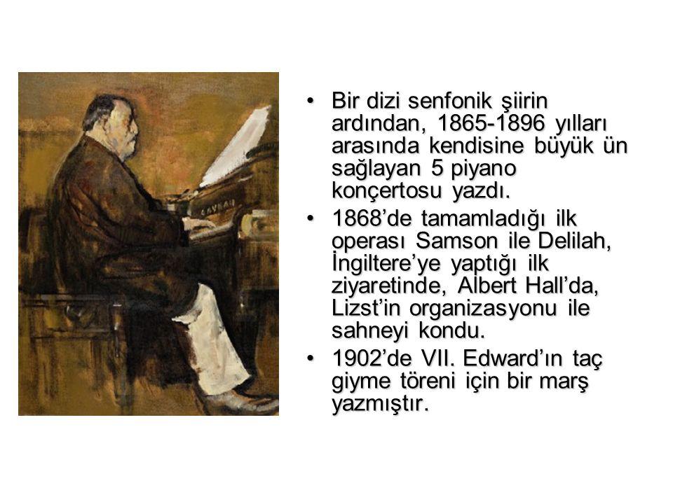Bir dizi senfonik şiirin ardından, 1865-1896 yılları arasında kendisine büyük ün sağlayan 5 piyano konçertosu yazdı.Bir dizi senfonik şiirin ardından,