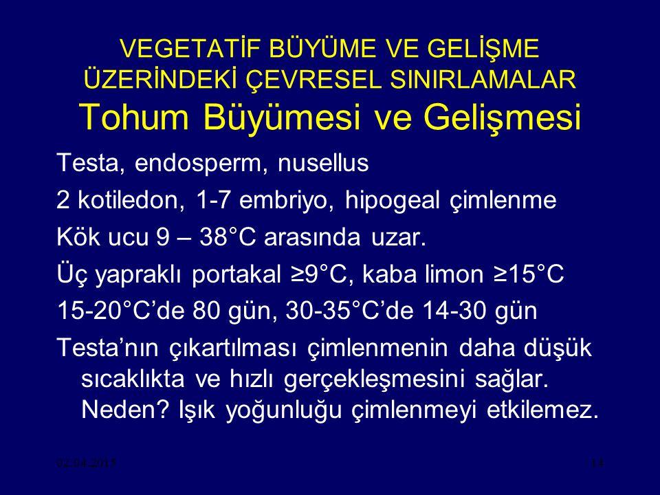02.04.201514 VEGETATİF BÜYÜME VE GELİŞME ÜZERİNDEKİ ÇEVRESEL SINIRLAMALAR Tohum Büyümesi ve Gelişmesi Testa, endosperm, nusellus 2 kotiledon, 1-7 embriyo, hipogeal çimlenme Kök ucu 9 – 38°C arasında uzar.
