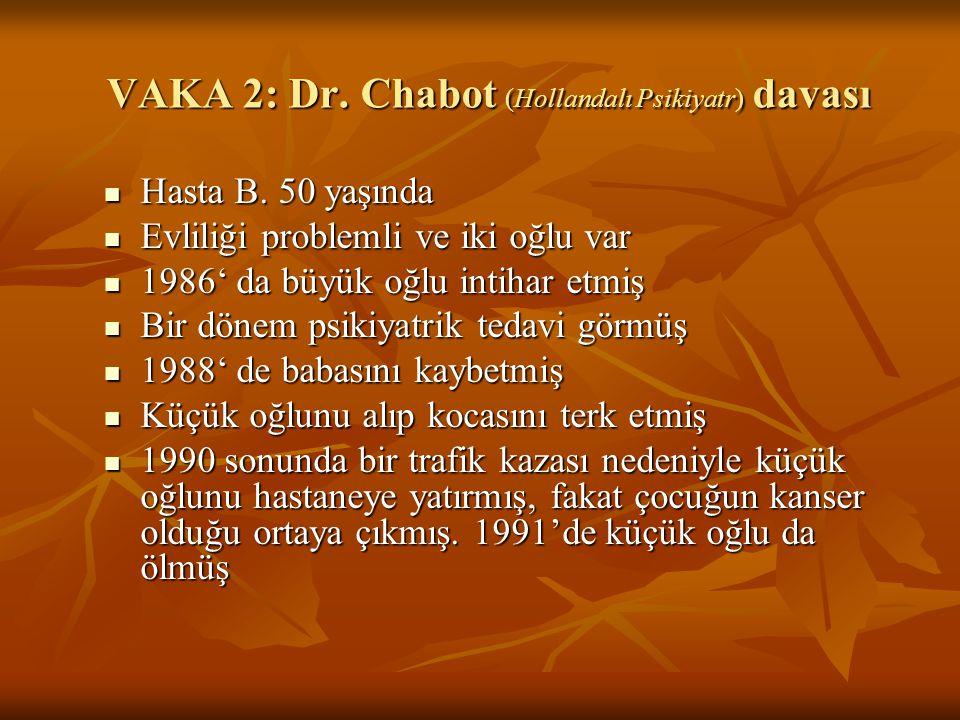 VAKA 2: Dr. Chabot (Hollandalı Psikiyatr) davası Hasta B. 50 yaşında Hasta B. 50 yaşında Evliliği problemli ve iki oğlu var Evliliği problemli ve iki
