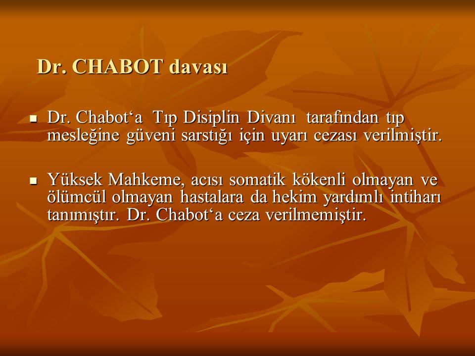 Dr. CHABOT davası Dr. Chabot'a Tıp Disiplin Divanı tarafından tıp mesleğine güveni sarstığı için uyarı cezası verilmiştir. Dr. Chabot'a Tıp Disiplin D