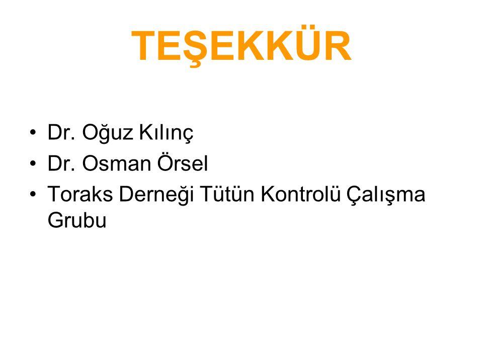 TEŞEKKÜR Dr. Oğuz Kılınç Dr. Osman Örsel Toraks Derneği Tütün Kontrolü Çalışma Grubu
