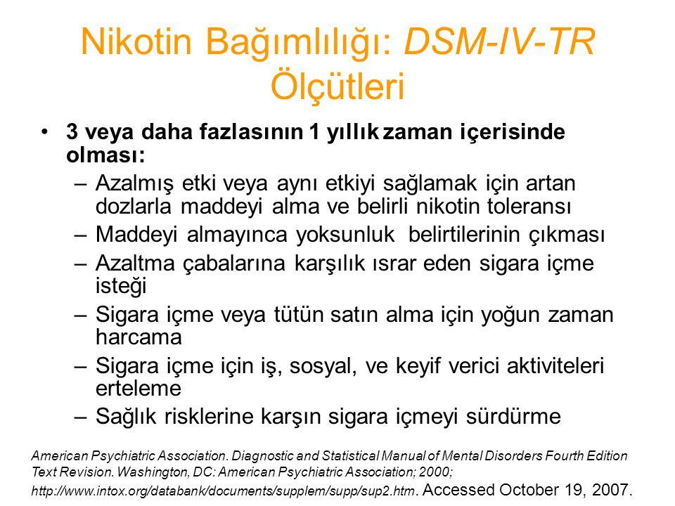Nikotin Bağımlılığı: DSM-IV-TR Ölçütleri 3 veya daha fazlasının 1 yıllık zaman içerisinde olması: –Azalmış etki veya aynı etkiyi sağlamak için artan d