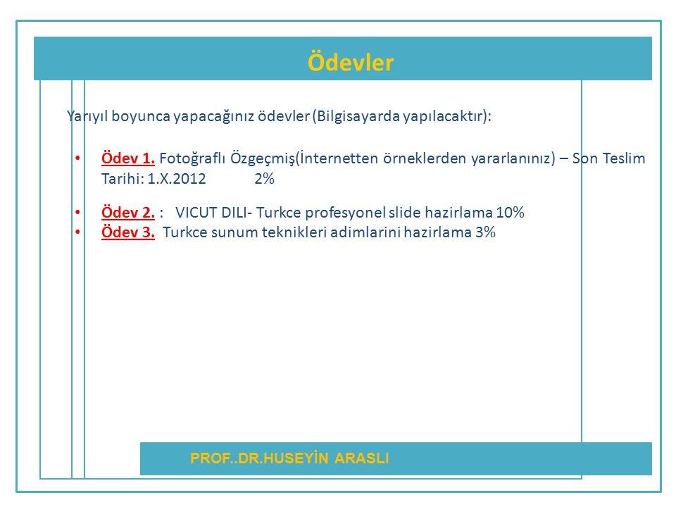 Ödevler PROF..DR.HUSEYİN ARASLI Yarıyıl boyunca yapacağınız ödevler (Bilgisayarda yapılacaktır): Ödev 1. Fotoğraflı Özgeçmiş(İnternetten örneklerden y