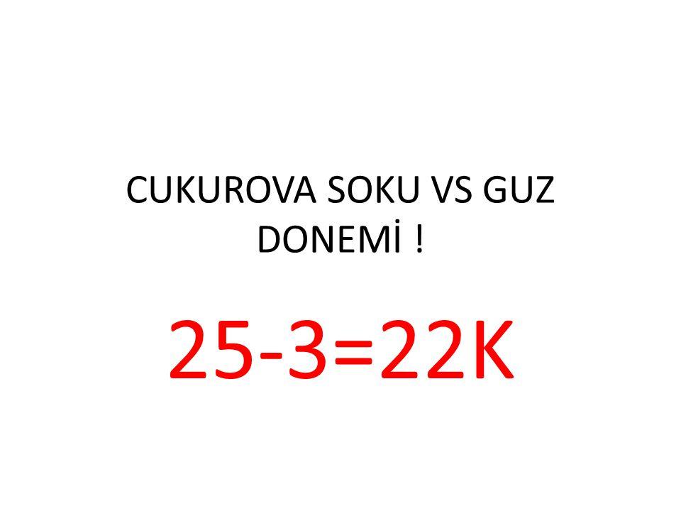 CUKUROVA SOKU VS GUZ DONEMİ ! 25-3=22K