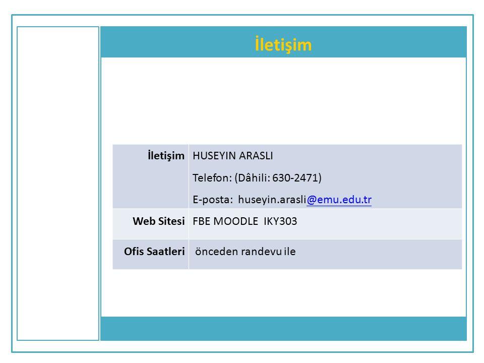 İletişim HUSEYIN ARASLI Telefon: (Dâhili: 630-2471) E-posta: huseyin.arasli@emu.edu.tr@emu.edu.tr Web SitesiFBE MOODLE IKY303 Ofis Saatleri önceden ra