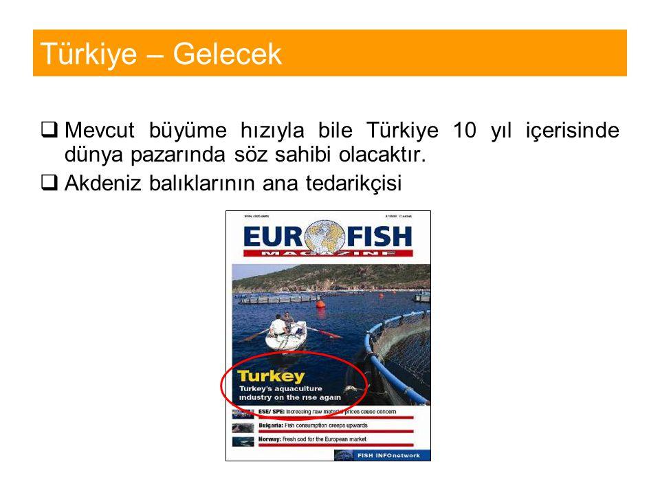 Türkiye – Gelecek  Mevcut büyüme hızıyla bile Türkiye 10 yıl içerisinde dünya pazarında söz sahibi olacaktır.  Akdeniz balıklarının ana tedarikçisi