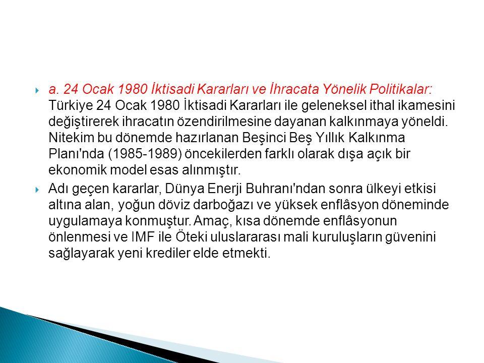 a. 24 Ocak 1980 İktisadi Kararları ve İhracata Yönelik Politikalar: Türkiye 24 Ocak 1980 İktisadi Kararları ile geleneksel ithal ikamesini değiştire