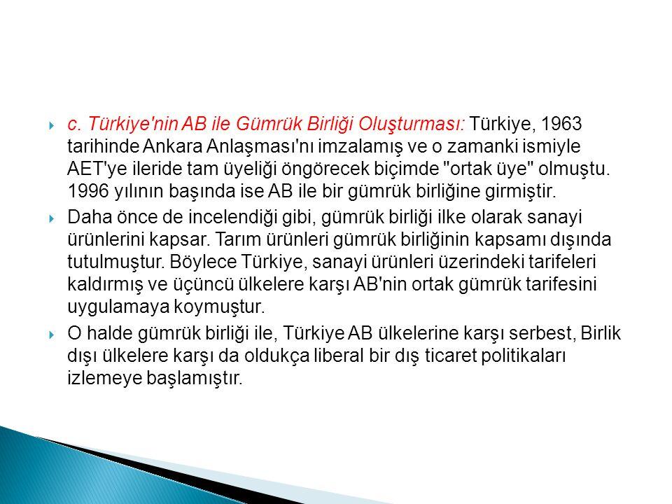  c. Türkiye'nin AB ile Gümrük Birliği Oluşturması: Türkiye, 1963 tarihinde Ankara Anlaşması'nı imzalamış ve o zamanki ismiyle AET'ye ileride tam üyel