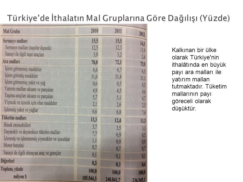 Kalkınan bir ülke olarak Türkiye'nin ithalâtında en büyük payı ara malları ile yatırım mallan tutmaktadır. Tüketim mallarının payı göreceli olarak düş
