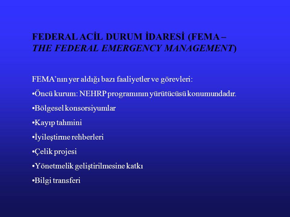 FEDERAL ACİL DURUM İDARESİ (FEMA – THE FEDERAL EMERGENCY MANAGEMENT) FEMA'nın yer aldığı bazı faaliyetler ve görevleri: Öncü kurum: NEHRP programının