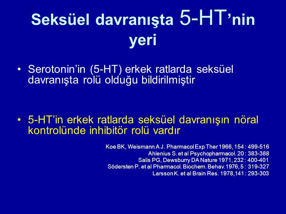 Seksüel davranışta 5-HT 'nin yeri Serotonin'in (5-HT) erkek ratlarda seksüel davranışta rolü olduğu bildirilmiştir 5-HT'in erkek ratlarda seksüel davr