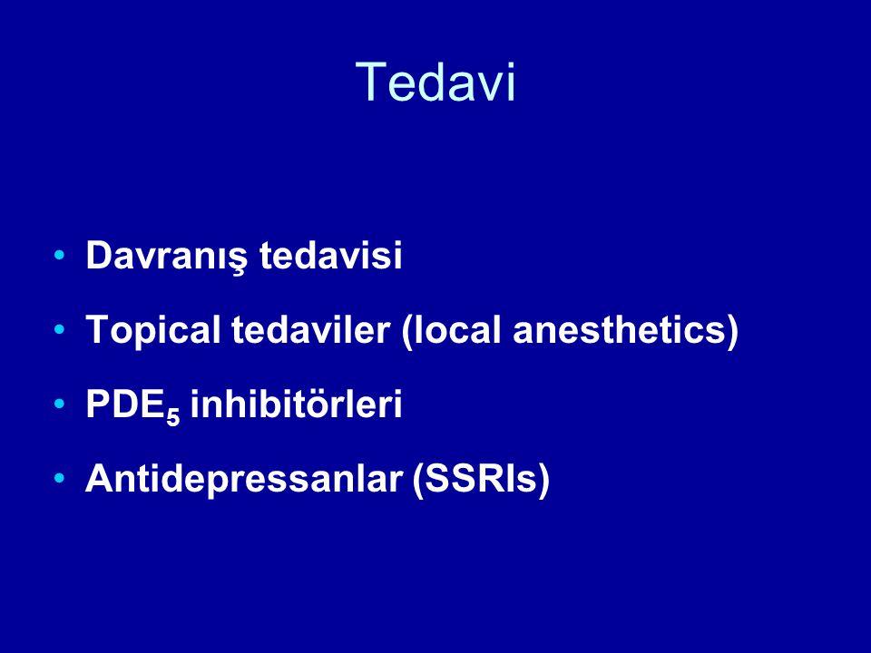 Tedavi Davranış tedavisi Topical tedaviler (local anesthetics) PDE 5 inhibitörleri Antidepressanlar (SSRIs)