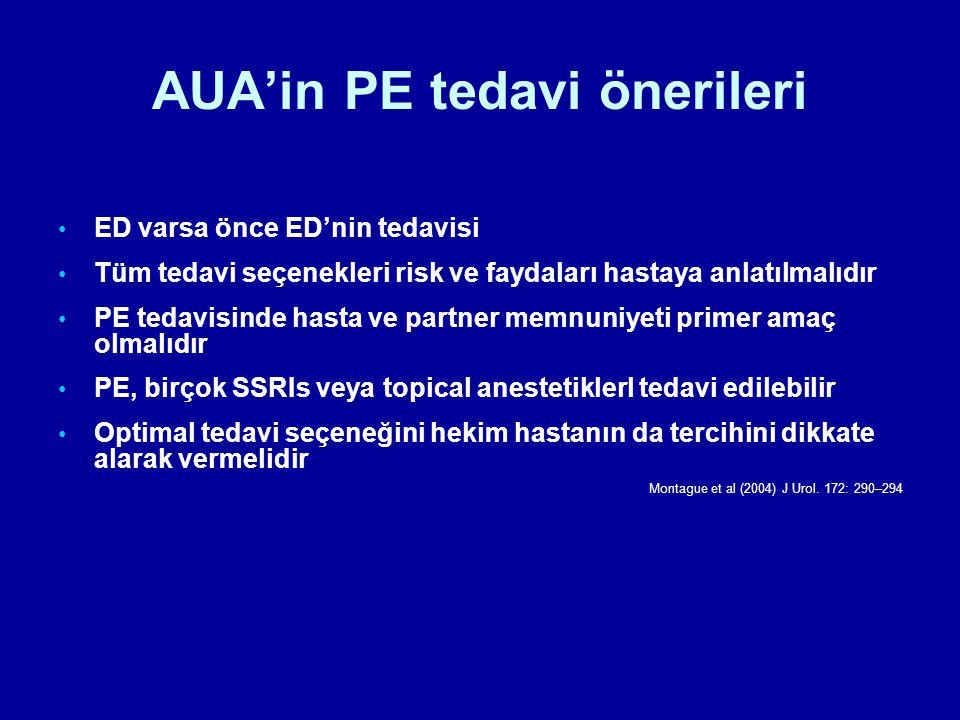 AUA'in PE tedavi önerileri ED varsa önce ED'nin tedavisi Tüm tedavi seçenekleri risk ve faydaları hastaya anlatılmalıdır PE tedavisinde hasta ve partn
