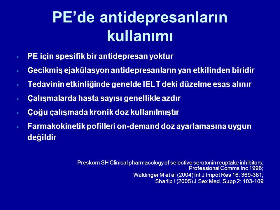 PE'de antidepresanların kullanımı PE için spesifik bir antidepresan yoktur Gecikmiş ejakülasyon antidepresanların yan etkilinden biridir Tedavinin etk