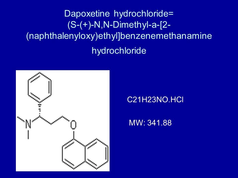 Dapoxetine hydrochloride= (S-(+)-N,N-Dimethyl-a-[2- (naphthalenyloxy)ethyl]benzenemethanamine hydrochloride C21H23NO.HCl MW: 341.88