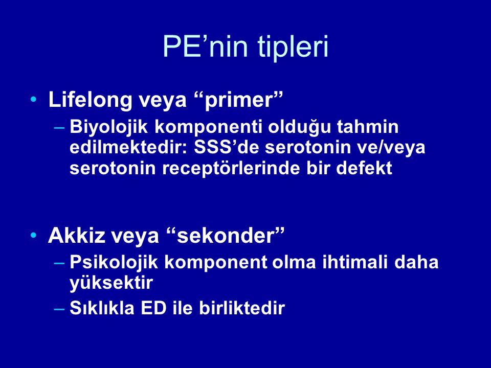 """PE'nin tipleri Lifelong veya """"primer"""" –Biyolojik komponenti olduğu tahmin edilmektedir: SSS'de serotonin ve/veya serotonin receptörlerinde bir defekt"""