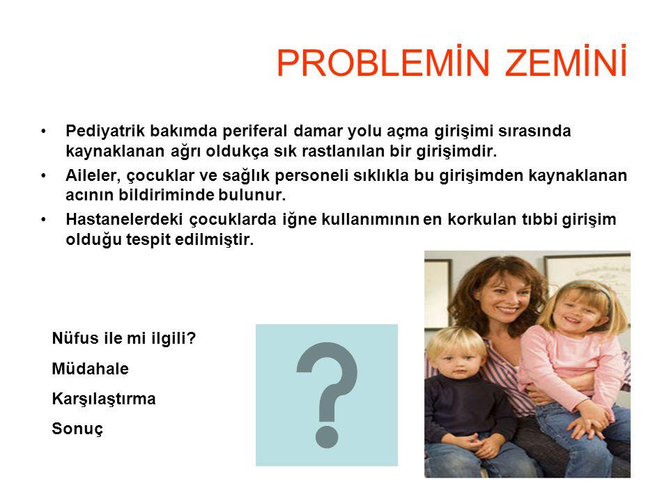 PROBLEMİN ZEMİNİ Pediyatrik bakımda periferal damar yolu açma girişimi sırasında kaynaklanan ağrı oldukça sık rastlanılan bir girişimdir. Aileler, çoc