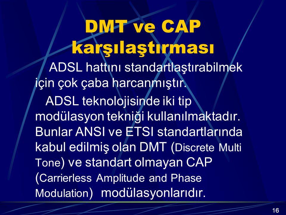 DMT ve CAP karşılaştırması ADSL hattını standartlaştırabilmek için çok çaba harcanmıştır.