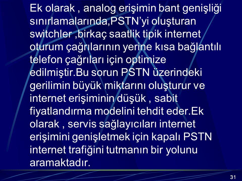 Ek olarak, analog erişimin bant genişliği sınırlamalarında,PSTN'yi oluşturan switchler,birkaç saatlik tipik internet oturum çağrılarının yerine kısa bağlantılı telefon çağrıları için optimize edilmiştir.Bu sorun PSTN üzerindeki gerilimin büyük miktarını oluşturur ve internet erişiminin düşük, sabit fiyatlandırma modelini tehdit eder.Ek olarak, servis sağlayıcıları internet erişimini genişletmek için kapalı PSTN internet trafiğini tutmanın bir yolunu aramaktadır.