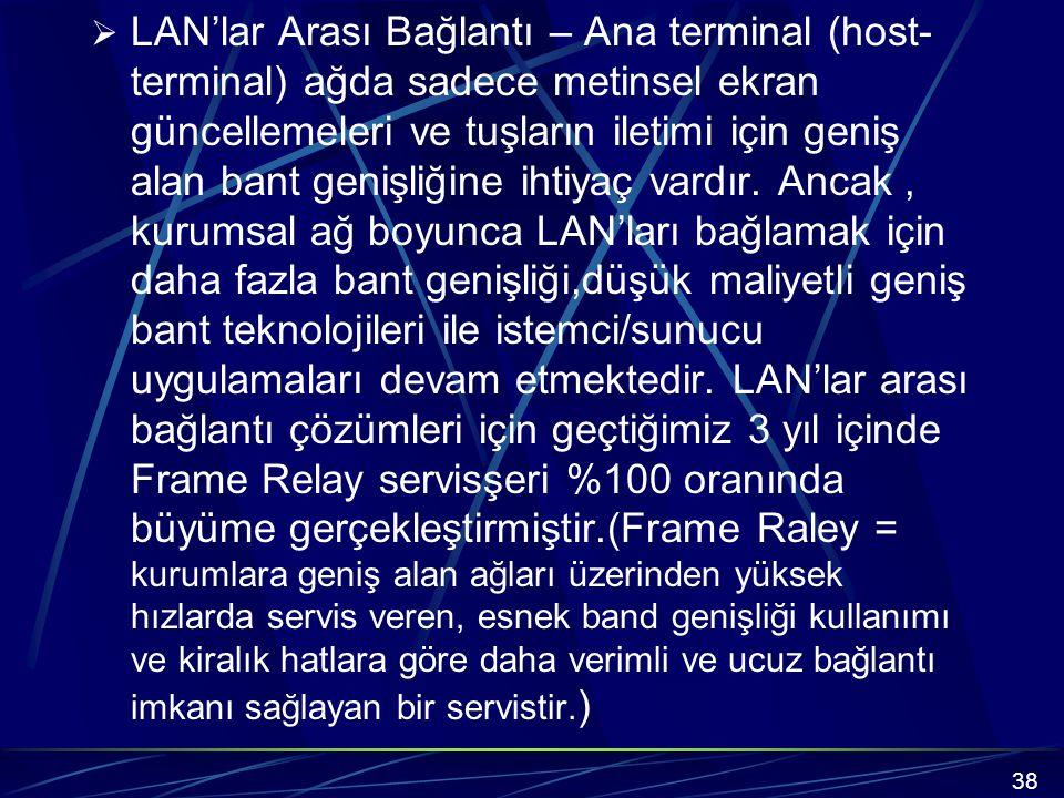  LAN'lar Arası Bağlantı – Ana terminal (host- terminal) ağda sadece metinsel ekran güncellemeleri ve tuşların iletimi için geniş alan bant genişliğine ihtiyaç vardır.