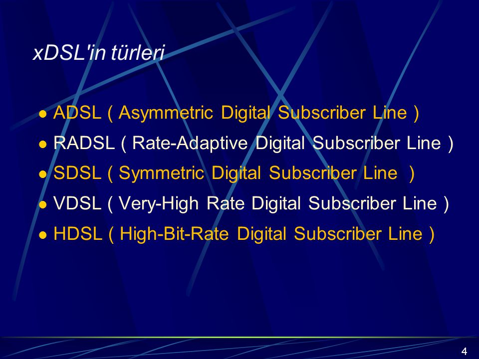 xDSL standartlarındaki gelişmeler ANSI, ETSI ve ITU-T ADSL2, HDSL2 (2 çiftli), HDSL2(tek çiftli) RADSL, VDSL ADSL forumu, DAVIC, ATM forumu ADSL, VDSL ADSL üzerinden ATM, VDSL üzerinde ATM ADSL için ATM TC katmanı 15