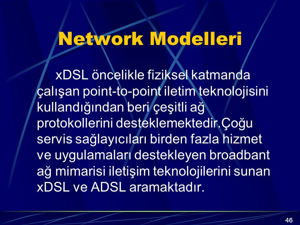Network Modelleri xDSL öncelikle fiziksel katmanda çalışan point-to-point iletim teknolojisini kullandığından beri çeşitli ağ protokollerini desteklemektedir.Çoğu servis sağlayıcıları birden fazla hizmet ve uygulamaları destekleyen broadbant ağ mimarisi iletişim teknolojilerini sunan xDSL ve ADSL aramaktadır.