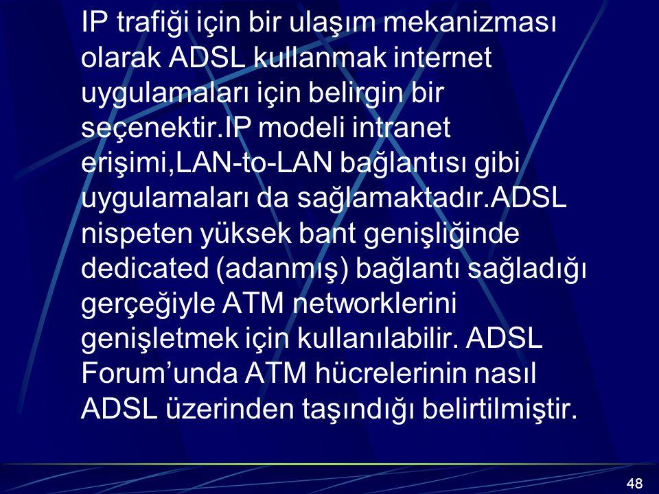 IP trafiği için bir ulaşım mekanizması olarak ADSL kullanmak internet uygulamaları için belirgin bir seçenektir.IP modeli intranet erişimi,LAN-to-LAN bağlantısı gibi uygulamaları da sağlamaktadır.ADSL nispeten yüksek bant genişliğinde dedicated (adanmış) bağlantı sağladığı gerçeğiyle ATM networklerini genişletmek için kullanılabilir.