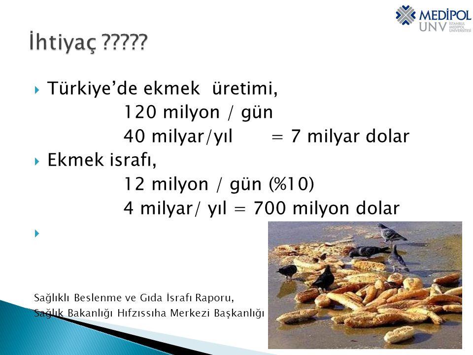  Türkiye'de ekmek üretimi, 120 milyon / gün 40 milyar/yıl = 7 milyar dolar  Ekmek israfı, 12 milyon / gün (%10) 4 milyar/ yıl = 700 milyon dolar  Sağlıklı Beslenme ve Gıda İsrafı Raporu, Sağlık Bakanlığı Hıfzıssıha Merkezi Başkanlığı