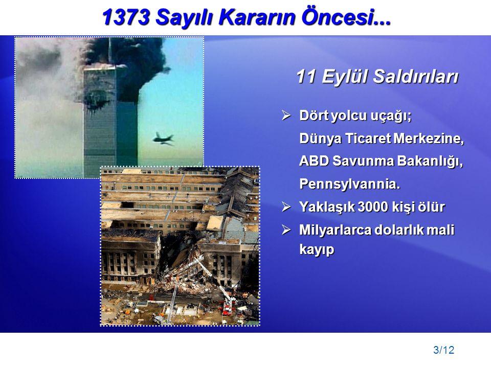 3/12 1373 Sayılı Kararın Öncesi... 11 Eylül Saldırıları  Dört yolcu uçağı; Dünya Ticaret Merkezine, ABD Savunma Bakanlığı, Pennsylvannia.  Yaklaşık
