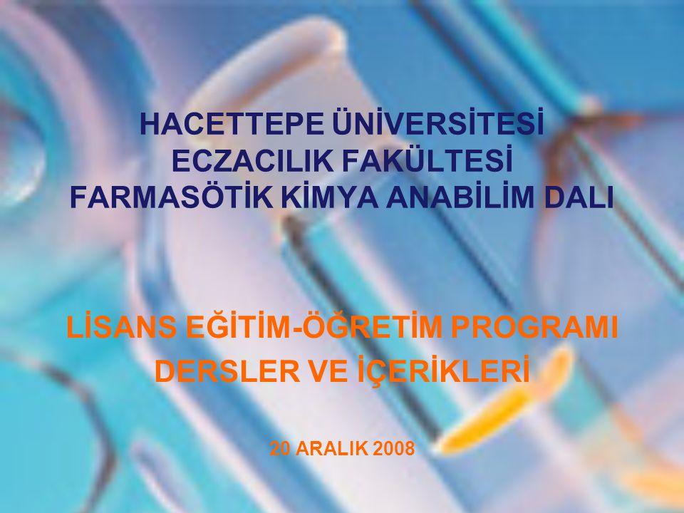 DERSİN KODU ECF 220 DERSİN ADI Farmasötik Kimya I DERSİN TÜRÜ Zorunlu EĞİTİM DİLİ Türkçe DERSİN DÜZEYİ Lisans DERSİN SÜRESİYarıyıllık KREDİSİ 3 ÖNKOŞULUYoktur ECTS KREDİSİ 4 DERSİN AMACI Dersin temel amacı, farmasötik kimya tanımı, tarihçesi, ilaçların fizikokimyasal ve yapısal özelliklerinin aktivite üzerine etkileri, ilaç-reseptör etkileşmeleri, ilaçların metabolizma reaksiyonları ve bunun ilaç geliştirme açısından önemi; merkezi sinir sistemi ilaçlarından genel anestezikler, sedatif ve hipnotikler, trankilizanlar, nöroleptikler, antikonvülsan ilaçlar, merkezi etkili kas gevşetici ilaçlar ve analjezik ilaçlar ve bunların sınıflandırılmaları, sentez reaksiyonları, yapı- aktivite ilişkileri ve metabolitleri hakkında genel bilgiler vererek öğrencilere, bu konularda temel oluşturmaktır.