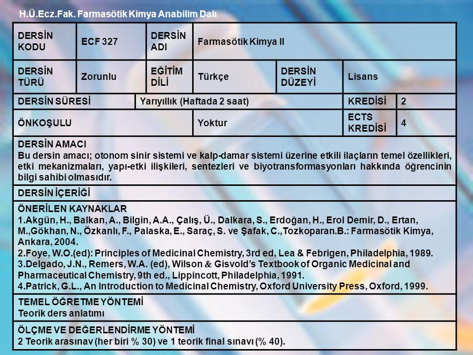 H.Ü.Ecz.Fak.Farmasötik Kimya Anabilim Dalı DERS PROGRAMI 1.