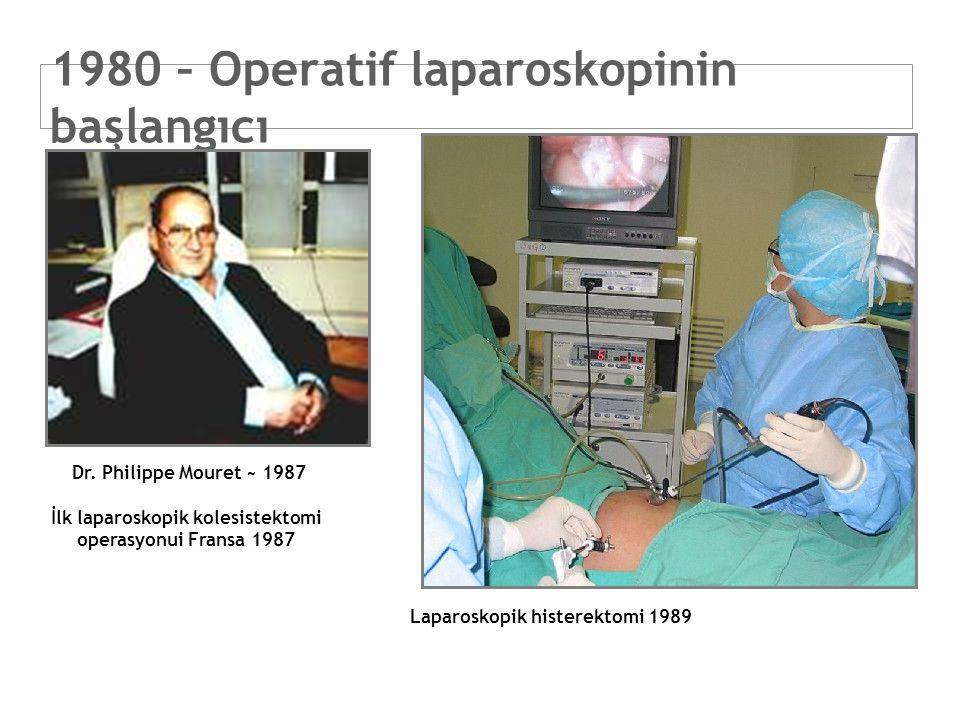 1980 – Operatif laparoskopinin başlangıcı Dr. Philippe Mouret ~ 1987 İlk laparoskopik kolesistektomi operasyonui Fransa 1987 Laparoskopik histerektomi