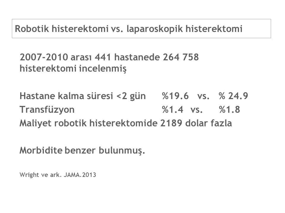Robotik histerektomi vs. laparoskopik histerektomi 2007-2010 arası 441 hastanede 264 758 histerektomi incelenmiş Hastane kalma süresi <2 gün%19.6 vs.