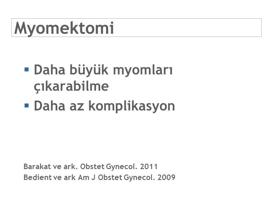 Myomektomi  Daha büyük myomları çıkarabilme  Daha az komplikasyon Barakat ve ark. Obstet Gynecol. 2011 Bedient ve ark Am J Obstet Gynecol. 2009