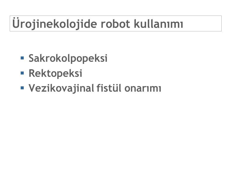 Ürojinekolojide robot kullanımı  Sakrokolpopeksi  Rektopeksi  Vezikovajinal fistül onarımı