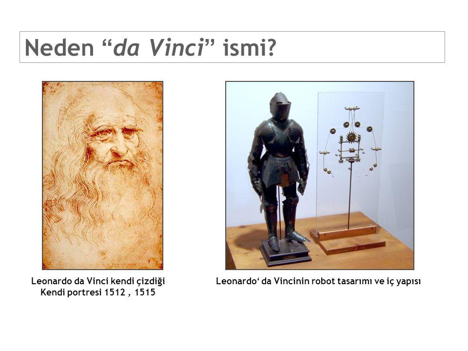 """Neden """"da Vinci"""" ismi? Leonardo da Vinci kendi çizdiği Kendi portresi 1512, 1515 Leonardo' da Vincinin robot tasarımı ve iç yapısı"""