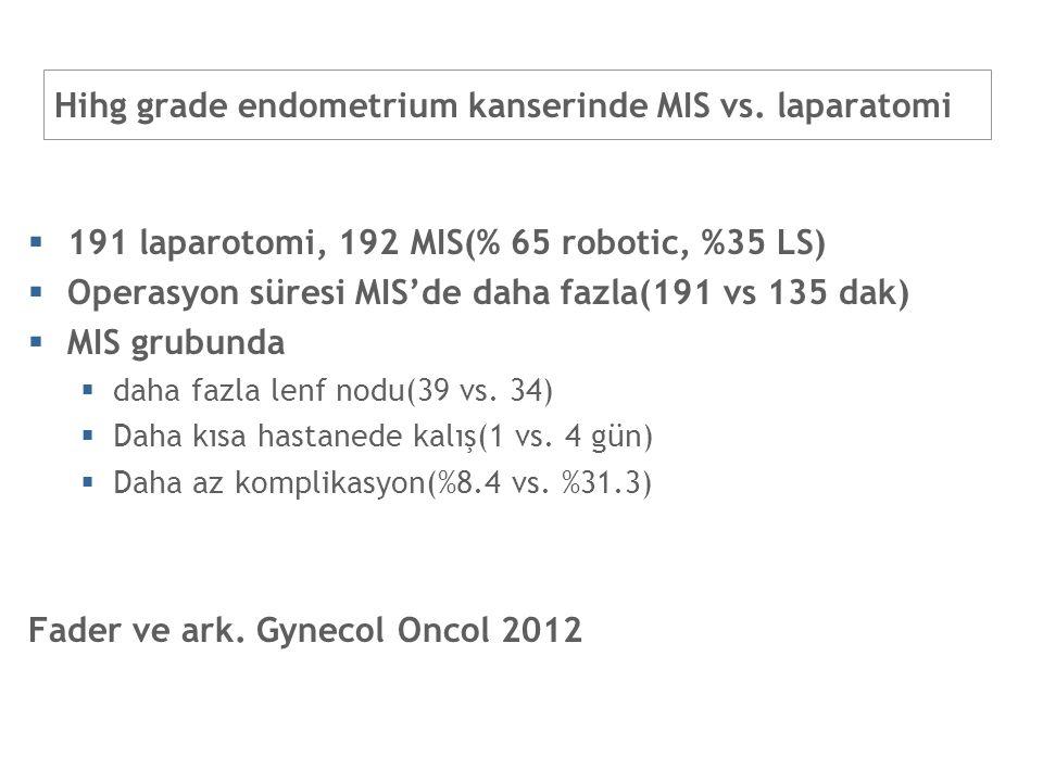 Hihg grade endometrium kanserinde MIS vs. laparatomi  191 laparotomi, 192 MIS(% 65 robotic, %35 LS)  Operasyon süresi MIS'de daha fazla(191 vs 135 d