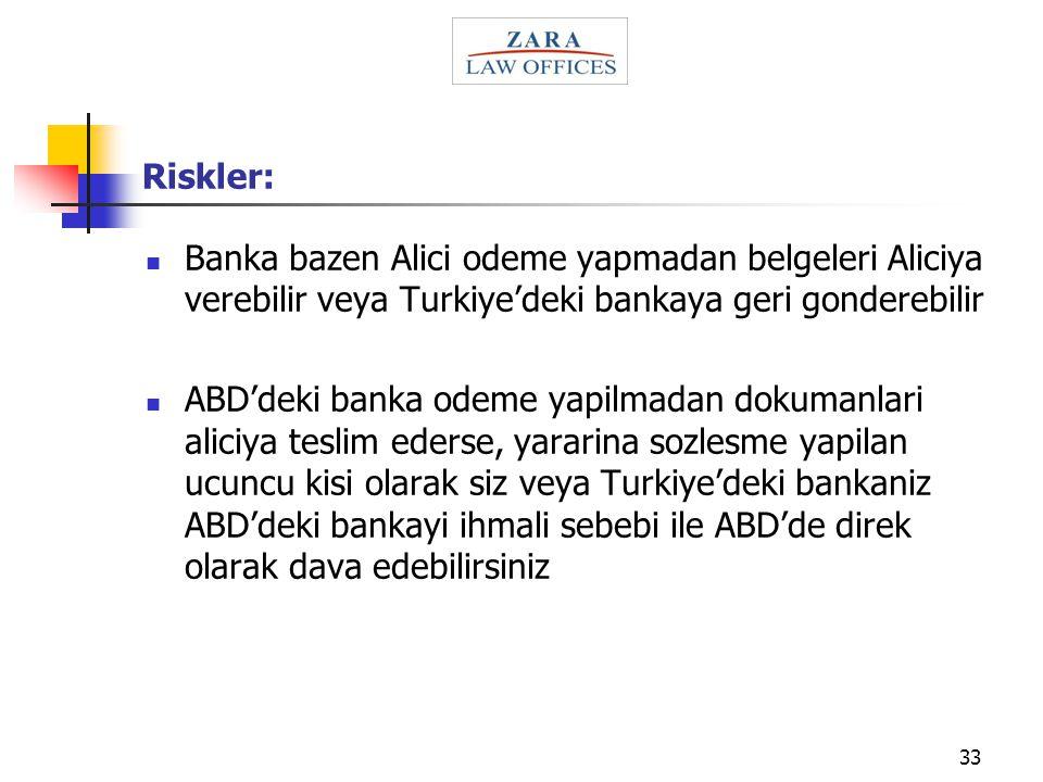 33 Riskler: Banka bazen Alici odeme yapmadan belgeleri Aliciya verebilir veya Turkiye'deki bankaya geri gonderebilir ABD'deki banka odeme yapilmadan d