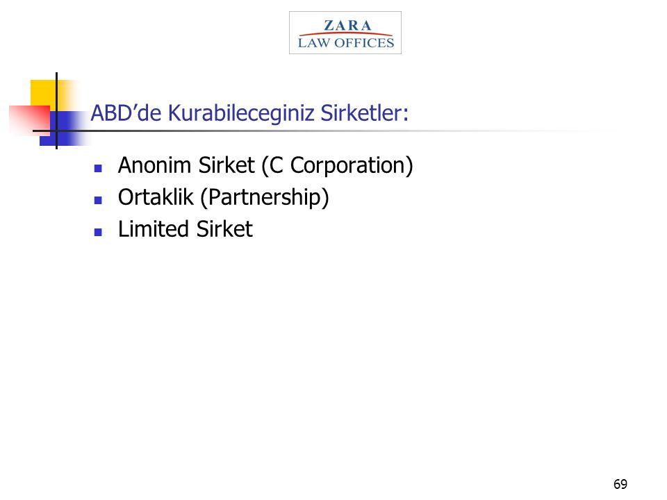 69 ABD'de Kurabileceginiz Sirketler: Anonim Sirket (C Corporation) Ortaklik (Partnership) Limited Sirket