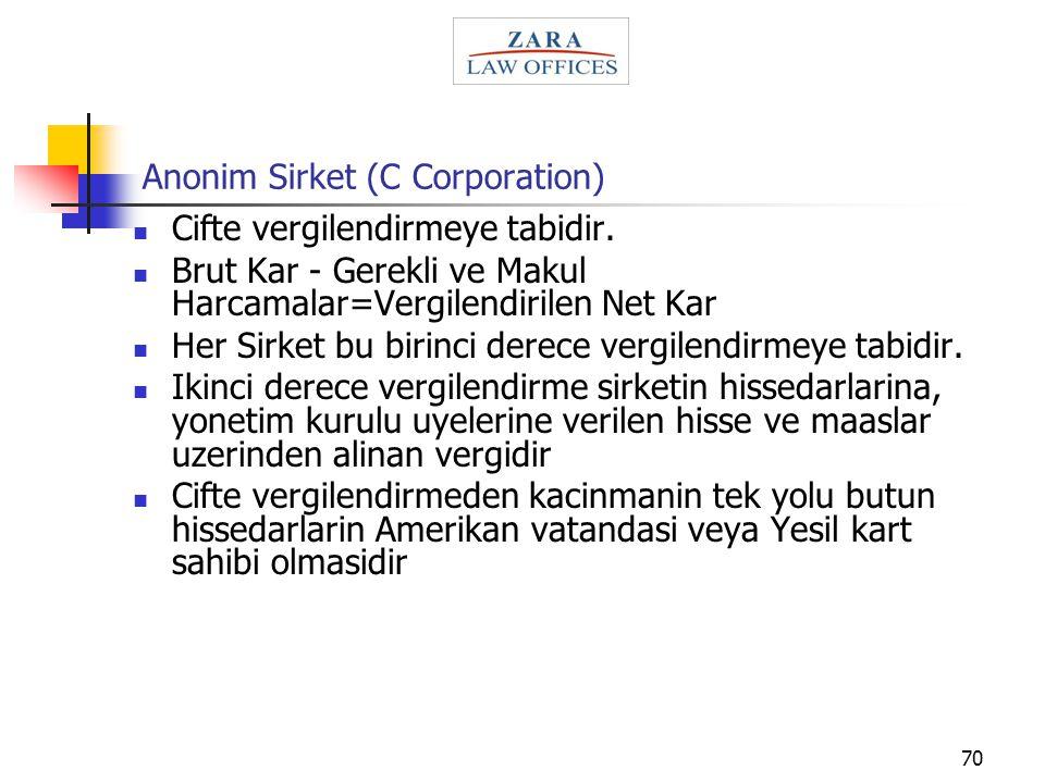 70 Anonim Sirket (C Corporation) Cifte vergilendirmeye tabidir. Brut Kar - Gerekli ve Makul Harcamalar=Vergilendirilen Net Kar Her Sirket bu birinci d