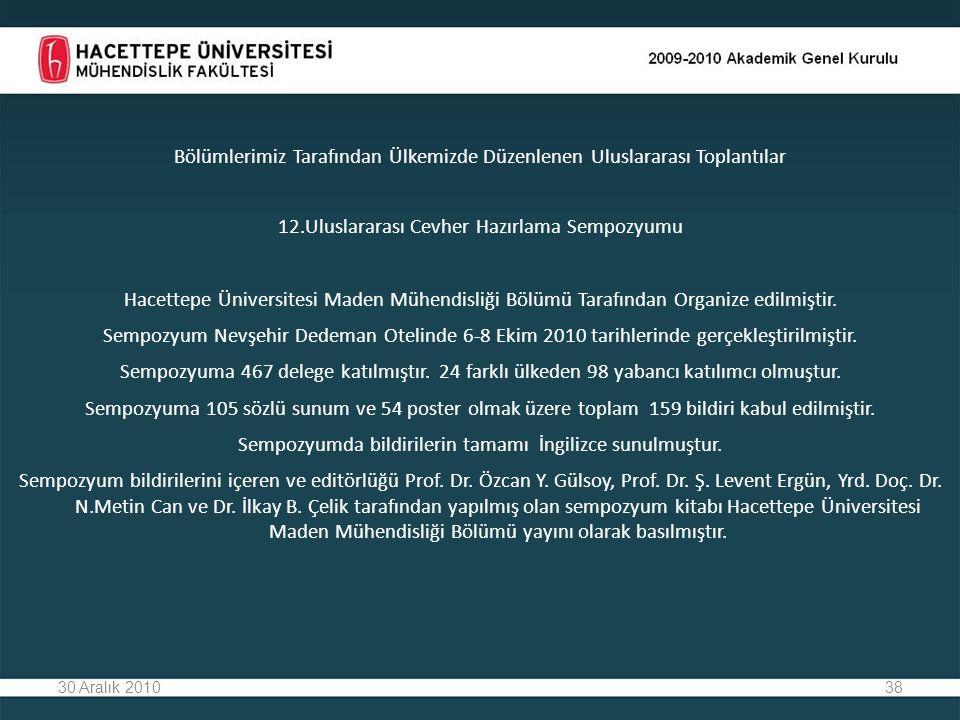 38 Bölümlerimiz Tarafından Ülkemizde Düzenlenen Uluslararası Toplantılar 12.Uluslararası Cevher Hazırlama Sempozyumu Hacettepe Üniversitesi Maden Mühendisliği Bölümü Tarafından Organize edilmiştir.