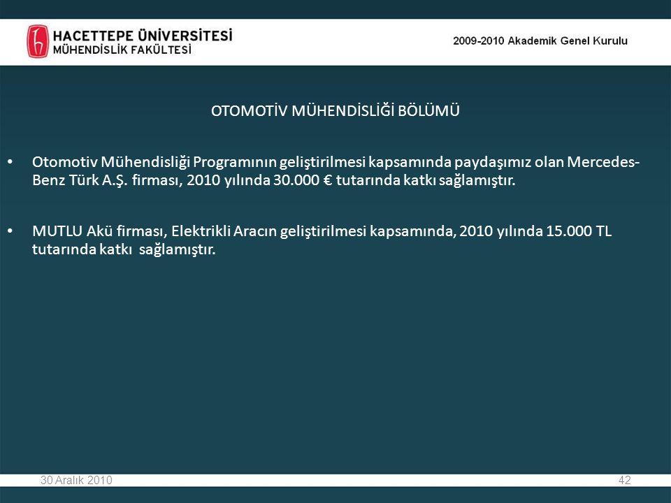 42 OTOMOTİV MÜHENDİSLİĞİ BÖLÜMÜ Otomotiv Mühendisliği Programının geliştirilmesi kapsamında paydaşımız olan Mercedes- Benz Türk A.Ş. firması, 2010 yıl