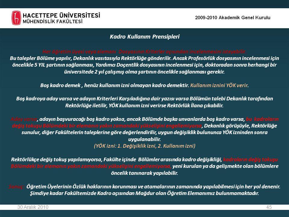 45 Kadro Kullanım Prensipleri Her öğretim üyesi veya elemanı Dosyasının Kriterler açısından incelenmesini isteyebilir.