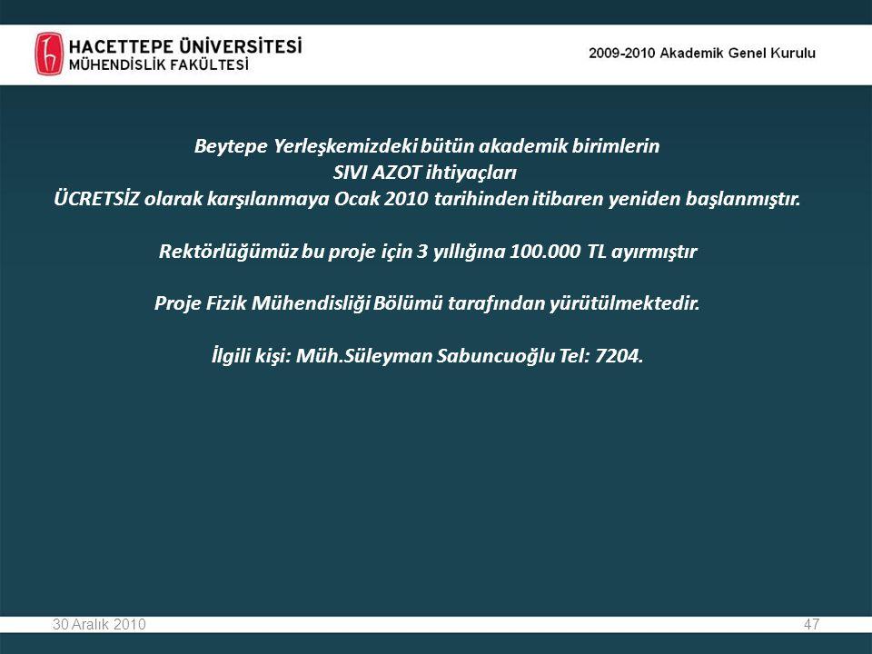 47 Beytepe Yerleşkemizdeki bütün akademik birimlerin SIVI AZOT ihtiyaçları ÜCRETSİZ olarak karşılanmaya Ocak 2010 tarihinden itibaren yeniden başlanmıştır.