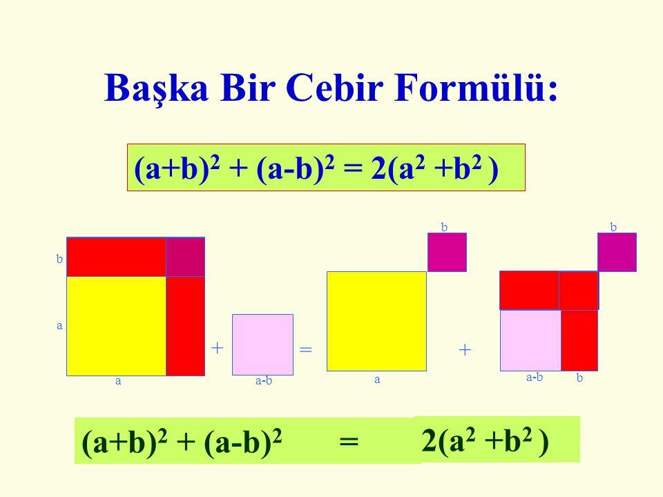 Bir Cebir Formülü Daha.. (a+b) 2 – (a-b) 2 = 4ab a+b a-b a+b a-b b a